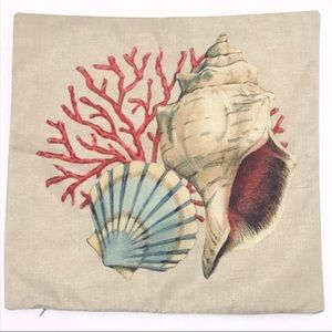 Seashell Coral Pillow COVER ONLY NWOT 🌼2/$20